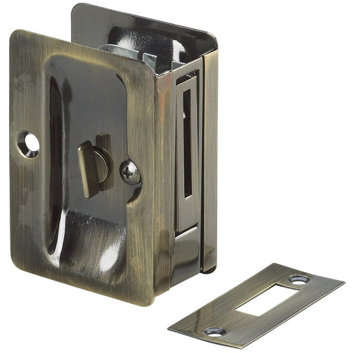 """View a Larger Image of 3-7/32"""" (82 mm) Pocket Door Pull  Rectangular Antique Brass Privacy"""
