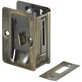 "3-7/32"" (82 mm) Pocket Door Pull  Rectangular Antique Brass Privacy"