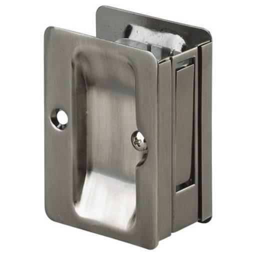 "View a Larger Image of 3-7/32"" (82 mm) Pocket Door Pull Rectangular Antique Nickel Passage"