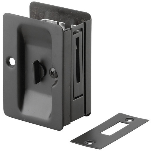 """View a Larger Image of 3-7/32"""" (82 mm) Pocket Door Pull  Rectangular Black Privacy"""