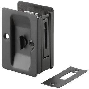 "3-7/32"" (82 mm) Pocket Door Pull  Rectangular Black Privacy"