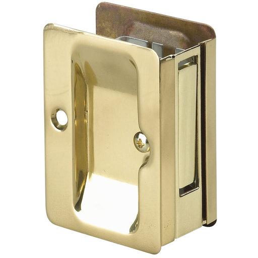 "View a Larger Image of 3-7/32"" (82 mm) Pocket Door Pull Rectangular Brass Passage"