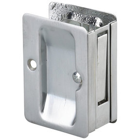 "3-7/32"" (82 mm) Pocket Door Pull Rectangular Brushed Chrome Passage"