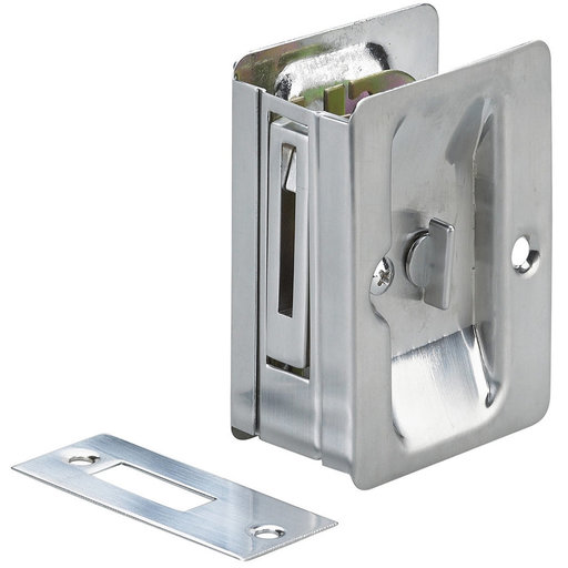 """View a Larger Image of 3-7/32"""" (82 mm) Pocket Door Pull  Rectangular Brushed Chrome Privacy"""
