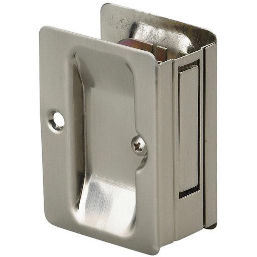 "View a Larger Image of 3-7/32"" (82 mm) Pocket Door Pull Rectangular Brushed Nickel Passage"