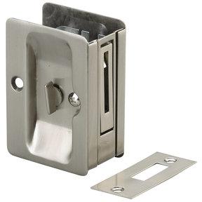 "3-7/32"" (82 mm) Pocket Door Pull  Rectangular Brushed Nickel Privacy"