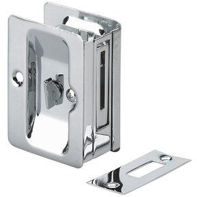 "3-7/32"" (82 mm) Pocket Door Pull  Rectangular Chrome Privacy"