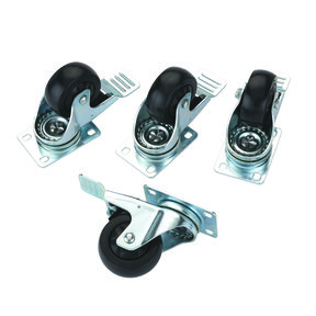 """3"""" Caster Double Locking/Swiveling with 4 Hole Mounting Plate - 4 Pack"""