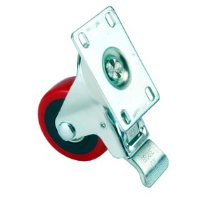 """3"""" Caster Double Locking Swiveling with 4 Hole Mounting Plate 4-1/4"""" Tall"""