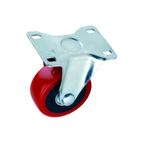 """3"""" Caster Non-locking Non-swiveling with 4 Hole Mounting Plate 4-1/4"""" Tall"""