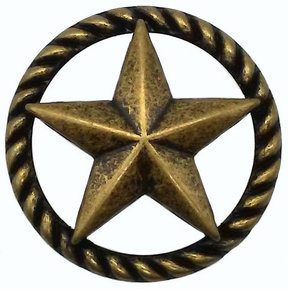 3-D Star with Narrow Rope, Brass Oxide