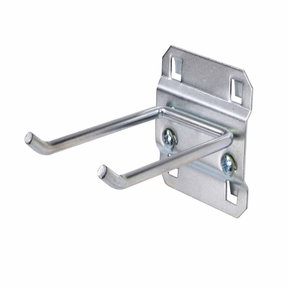 3 In. Double Rod 30 Degree Bend 3/16 In. Dia. Zinc Plated Steel Pegboard Hook for LocBoard, 5 Pack