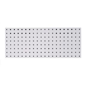 30 In. W x 12 In. H White Epoxy, 18 Gauge Steel Square Hole Pegboard Strip