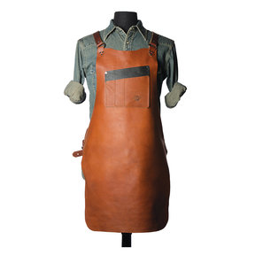 """30"""" Leather Shop Apron with X-back, Tobacco"""