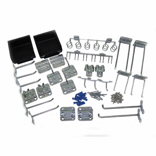 View a Larger Image of 30 Pc Zinc Plated Steel Hook & Bin Assortment for LocBoard