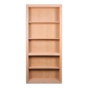 32 in. x 80 in. Flush Mount Assembled Cherry Unfinished Wood 4-Shelf InvisiDoor Bookcase Door