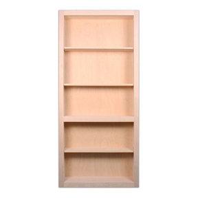 32 in. x 80 in. Flush Mount Assembled Maple Unfinished Wood 4-Shelf InvisiDoor Bookcase Door