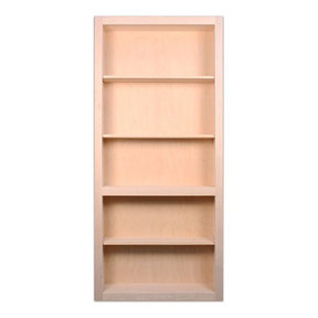 32 in. x 80 in. Flush Mount Assembled Red Oak Unfinished Wood 4-Shelf InvisiDoor Bookcase Door