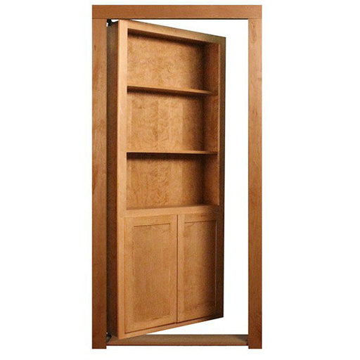 View a Larger Image of 32 in. x 80 in. Flush Mount Assembled Red Oak Unfinished Wood 4-Shelf InvisiDoor Bookcase Door