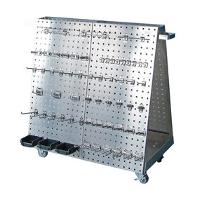 36-3/4 In. L x 39-1/4 In. H x 21-1/4 In. W Stainless Steel Frame SS LocBoard Tool Cart with Tray, 60 pc Stainless Steel