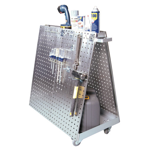 View a Larger Image of 36-3/4 In. L x 39-1/4 In. H x 21-1/4 In. W Stainless Steel Frame SS LocBoard Tool Cart with Tray, 60 pc Stainless Steel