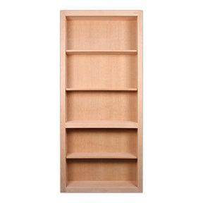 36 in. x 80 in. Flush Mount Assembled Cherry Unfinished Wood 4-Shelf InvisiDoor Bookcase Door