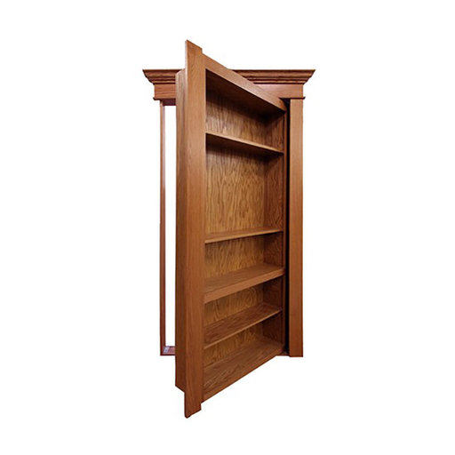 View a Larger Image of 36 in. x 80 in. Flush Mount Assembled Maple Unfinished Wood 4-Shelf InvisiDoor Bookcase Door