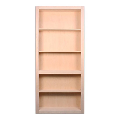 View a Larger Image of 36 in. x 80 in. Flush Mount Assembled Red Oak Unfinished Wood 4-Shelf InvisiDoor Bookcase Door