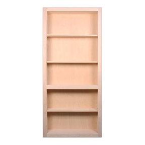 36 in. x 80 in. Flush Mount Assembled Red Oak Unfinished Wood 4-Shelf InvisiDoor Bookcase Door