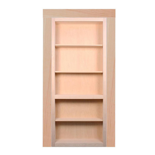 View a Larger Image of 36 in. x 80 in. Flush Mount Ready-to-Assemble Unfinished Maple InvisiDoor Bookcase Door with Trim Molding
