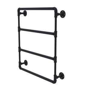 "36"" Wall Mounted Ladder Towel Bar, Matt Black Finish"