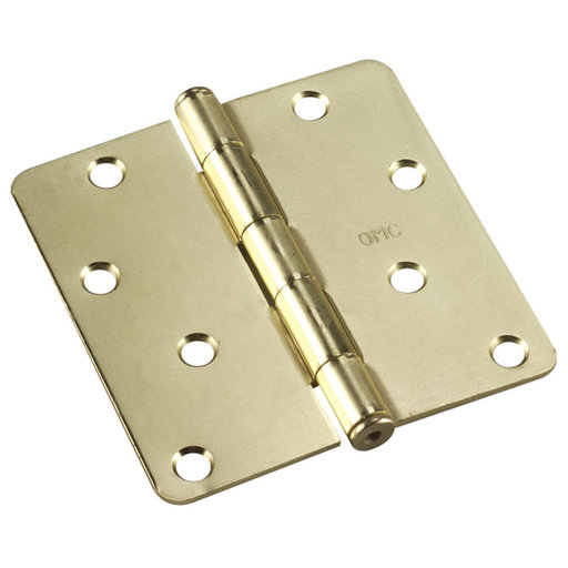 """View a Larger Image of 4"""" (102 mm) Full Mortise Butt Hinge 1/4"""" Radius Brass"""