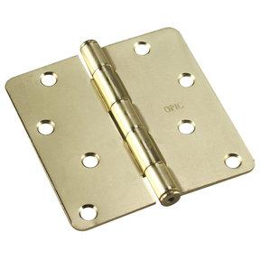 """4"""" (102 mm) Full Mortise Butt Hinge 1/4"""" Radius Brass"""