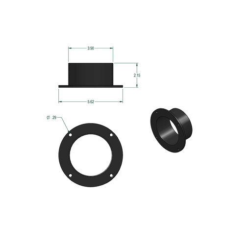 """View a Larger Image of 4"""" Flanged Inlet Dust Collection Fitting"""