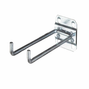 4 In. Double Rod 90 Degree Bend 1/4 In. Dia. Zinc Plated Steel Pegboard Hook for LocBoard, 5 Pack