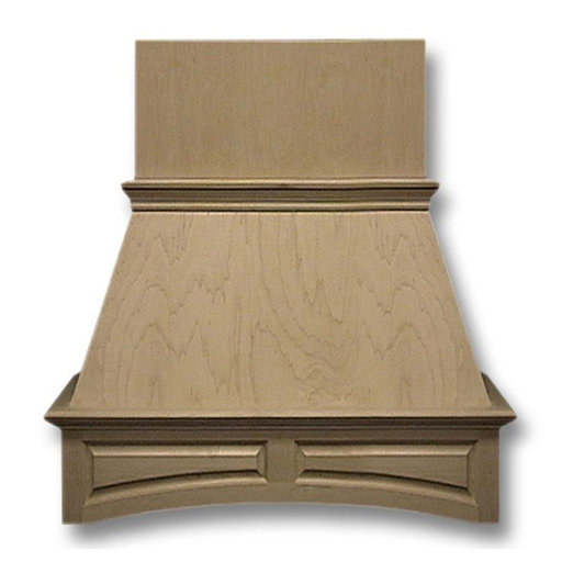 View a Larger Image of 42-in. Wide Arched Raised Panel Red Oak Wood Wall-Mount Range Hood