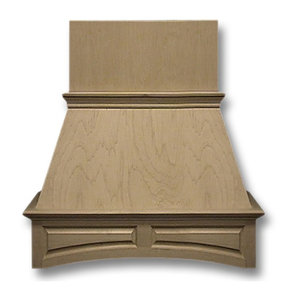 42-in. Wide Arched Raised Panel Red Oak Wood Wall-Mount Range Hood