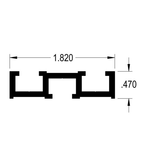 """View a Larger Image of 48"""" Double T-Track Bolt Mount Fence Extrusion"""