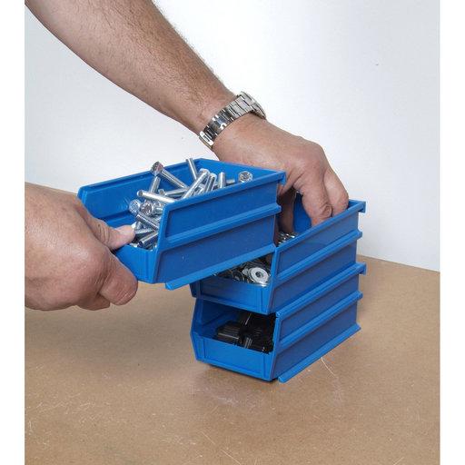 """View a Larger Image of 5-3/8"""" L x 4-1/8"""" W x 3"""" H Blue Stacking, Hanging, Interlocking Polypropylene Bins, 6 CT"""