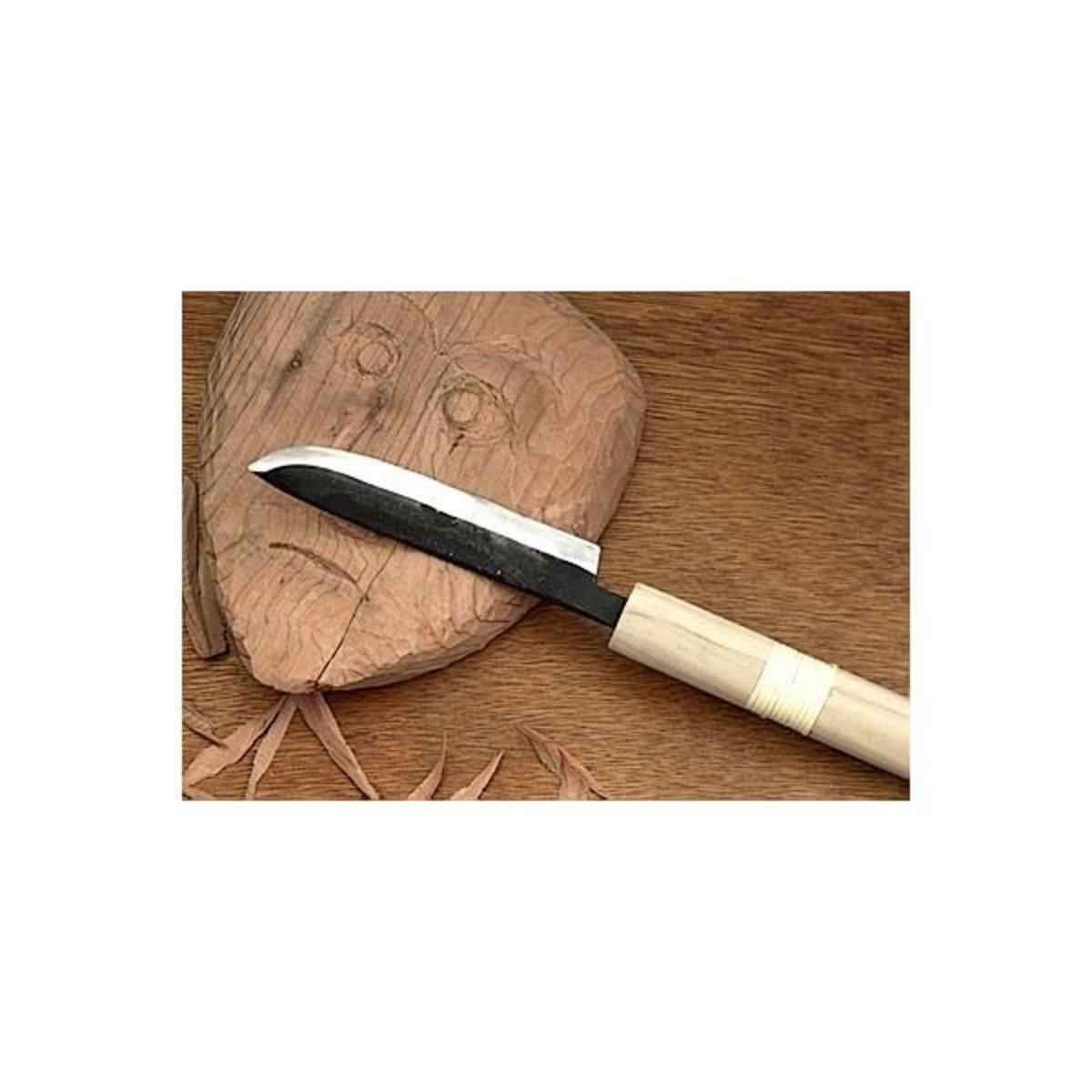 """View a Larger Image of 5"""" Bent Tip Carving Knife - Kawazei"""