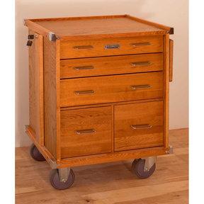 Oak - 5-Drawer Large Rolling Cabinet