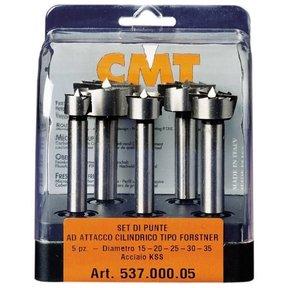 5 PCS FORSTNER BIT SET: 15mm, 20mm, 25mm, 30mm, 35mm - CMT Part: 537.000.05