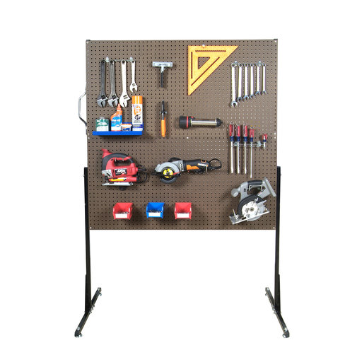 View a Larger Image of 50 In. W Free-Standing Pegboard Unit with 4 Brown Tempered Wood Pegboards