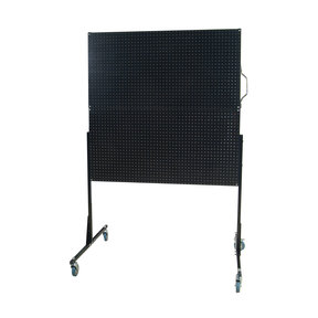 50 In. W Mobile Stand-Alone Pegboard Unit with 4 Black High Density Fiberboard Pegboards