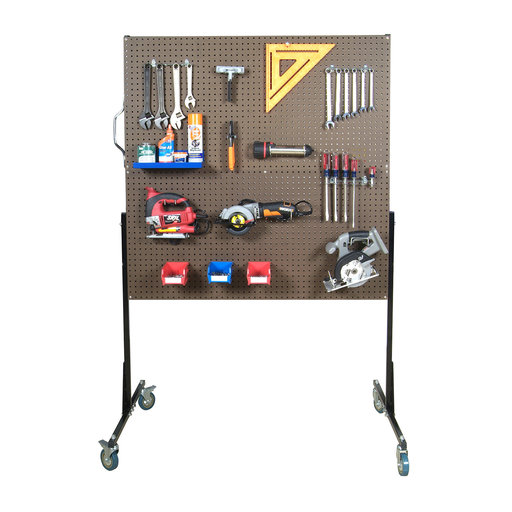 View a Larger Image of 50 In. W Mobile Stand-Alone Pegboard Unit with 4 Brown Tempered Wood Pegboards