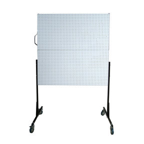 50 In. W Mobile Stand-Alone Pegboard Unit with 4 White High Density Fiberboard Pegboards