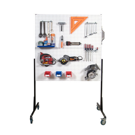View a Larger Image of 50 In. W Mobile Stand-Alone Pegboard Unit with 4 White High Density Fiberboard Pegboards