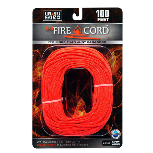 View a Larger Image of  550 FireCord - 100' SAFETYORANGE Paracord