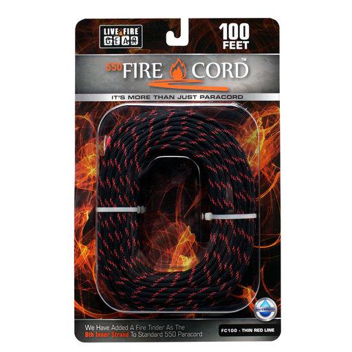 View a Larger Image of  550 FireCord - 100' THINREDLINE Paracord