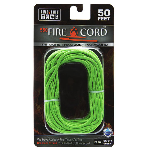 View a Larger Image of  550 FireCord - 50' SAFETYGREEN Paracord